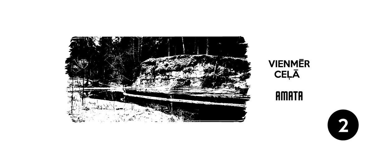 Vienmēr ceļā - Amata, Amatas upes  klints attēls  - otrais dizains, melnbaltais variants